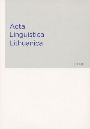 Acta Linguistica Lithuanica 73 (LXXIII)