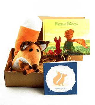 Mažasis dovanų rinkinys MAŽASIS PRINCAS nr. 1: pasakaitė vaikams + pliušinė Lapė + atvirukas: prisijaukink mane dailioje dėžutėje