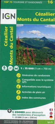 IGN 75 000 Touristische Wanderkarte 16 Cézallier - Monts du Cantal