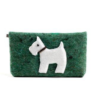 Veltos vilnos dėklas (žalias, baltas šuo)