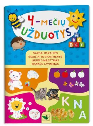 4-mečių užduotys: rankos lavinimas, loginis mąstymas, garsai ir raidės, skaičiai ir skaitmenys