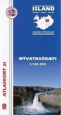 Island Atlaskort 21 Myvatnsöræfi 1:100.000
