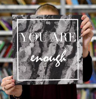 """Laimingų namų taisyklės """"You are enough """", juoda, 30 x 30 cm"""