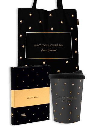 """MAŽA JUODA KNYGUTĖ + KELIONINIS PUODELIS + PIRKINIŲ MAIŠELIS: auksinis Coco Chanel rinkinys """"Mados keičiasi, stilius išlieka"""""""