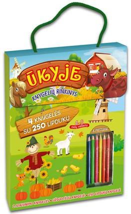 Ūkio rinkinys: 4 knygelės su 250 lipdukų + pieštukai. 4-5 m. vaikams