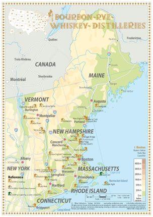 Bourbon-Rye-Whiskey Distilleries in Maine-Vermont - Tasting Map 24x34cm