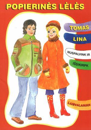 Popierinės lėlės Tomas ir Lina. Nuspalvink ir išsikirpk