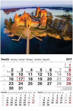 """2017 metų sieninis kalendorius su žymekliu """"Trakai"""""""