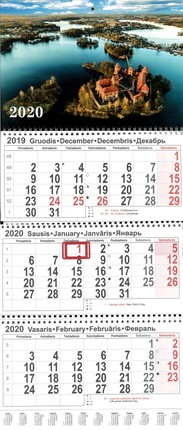 2020 m. sieninis 3 dalių kalendorius (Trakai)