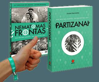 PATRIOTO RINKINYS: naujas Juozo Daumanto kultinės knygos PARTIZANAI leidimas + filmo NEMATOMAS FRONTAS DVD + patrioto juostelė
