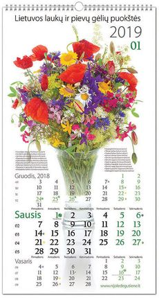 """2019 m. kalendorius """"Lietuvos laukų ir pievų gėlių puokštės"""""""