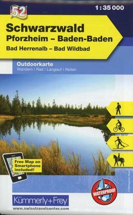 KuF Deutschland Outdoorkarte 52 Schwarzwald, Pforzheim, Baden-Baden, Bad Herrenalb, Bad Wildbad 1 : 35 000