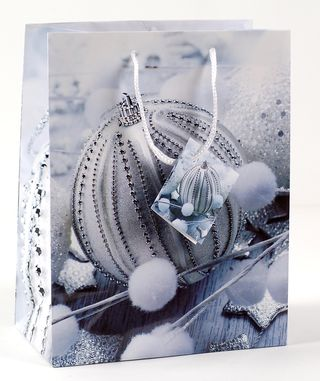 Kalėdinis dovanų maišelis (sidabrinis žaisliukas, mažas)