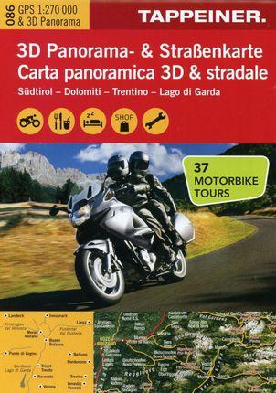 3D Panorama- und Motorradkarte Südtirol / Dolomiten / Gardasee 1 : 270.000
