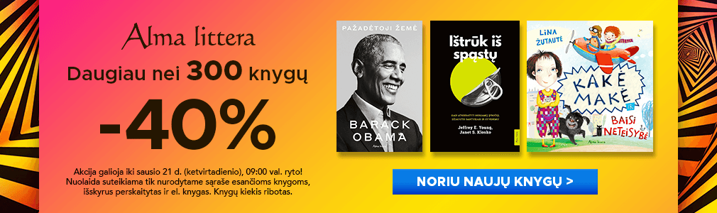 Daugiau nei 300 ALMA LITTERA knygų -40 proc. pigiau