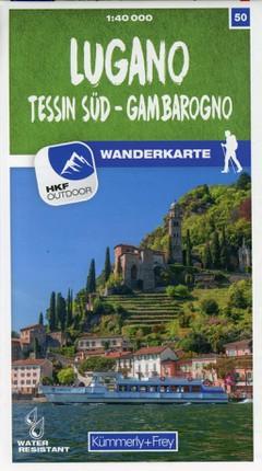 Lugano - Sottoceneri - Gambarogno 50 Wanderkarte 1:40 000 matt laminiert
