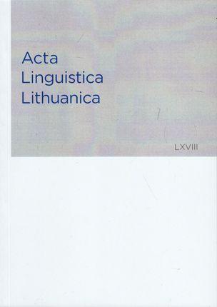Acta Linguistica Lithuanica 68 (LXVIII)