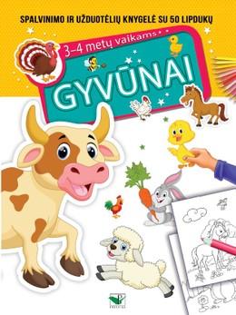 Gyvūnai: spalvinimo ir užduotėlių knygelė su lipdukais 3–4 metų vaikams