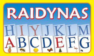 Raidynas. Rinkinį sudaro: dėžutė, 70 raidžių su iliustruotomis kortelėmis