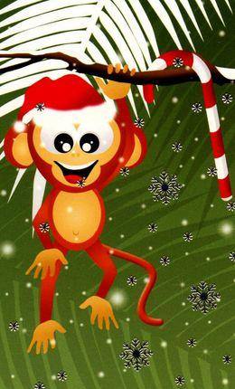 Kalėdinis sveikinimo atvirukas, mažas (beždžionė)