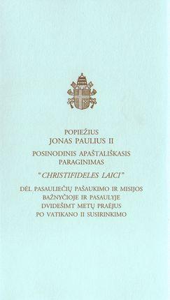 """""""Christifideles Laici"""" Posinodinis apaštališkasis paraginimas"""