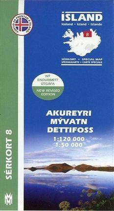 Island Serkort 08 Akureyri - Myvatn - Dettifoss 1 : 120 000 / 1 : 50 000