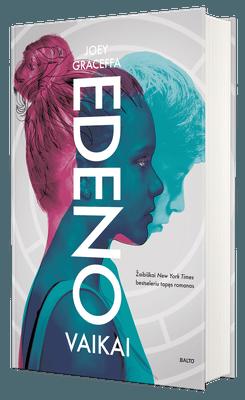 """EDENO VAIKAI: kaip išgyventum žiauriame pasaulyje, kuriame tau buvo draudžiama gimti? YouTube sensacijos Joey Graceffos debiutinis distopinis romanas, žaibiškai tapęs New York Times bestseleriu. Tai pirmoji """"Edeno"""" trilogijos knyga."""