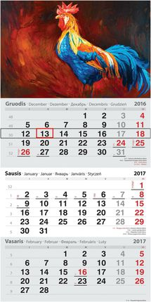 2017 metų kalendorius. Gaidys