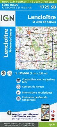 Lencloitre - St. Jean de Sauves 1 : 25 000 Carte Topographique Serie Bleue Itineraires de Randonnee