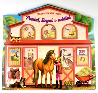 Poniai, žirgai ir arkliai. Dėliok, spalvink, kurk (250 lipdukų)