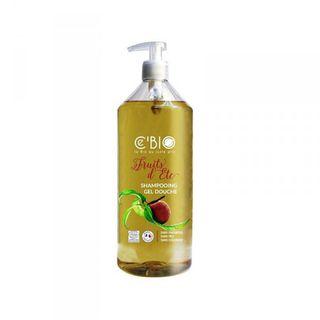 CEBIO Dušo ir plaukų šampūnas 2in1 su persikų ir abrikosų aromatu, 1000ml