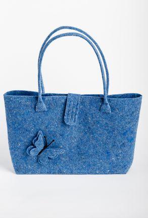 Veltos vilnos rankinė (mėlyna, drugelis, mažesnė)