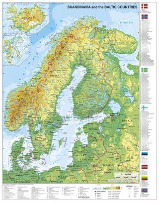 Skandinavien und Baltikum physisch 1 : 30.000 000. Wandkarte mit Metallbeleistung
