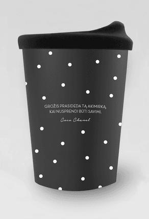 """Retro porcelianinis kelioninis puodelis su COCO CHANEL citata: """"Grožis prasideda tą akimirką, kai nusprendi būti savimi"""""""