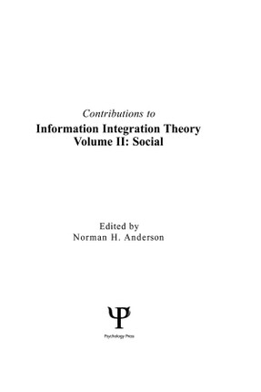 Contributions To Information Integration Theory