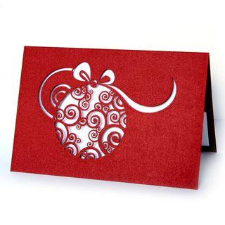 Kalėdinis sveikinimo atvirukas su voku (raudonas)