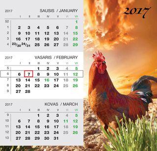 """2017 metų pastatomas kalendorius """"Gaidys"""""""