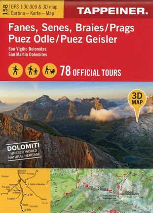 3D-Wanderkarte Fanes, Senes, Prags, Puez Geisler 1 : 30.000
