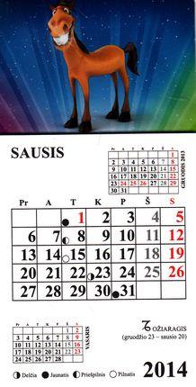 2014 metų magnetinis kalendoriukas su arkliu