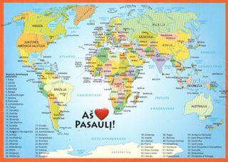 """Žemėlapis - atvirlaiškis """"Aš myliu Pasaulį"""""""