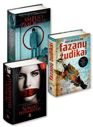 3 už 2 kainą! Pažintis su 3 Skandinavijos detektyvų meistrais: SMĖLIO ŽMOGUS + FAZANŲ ŽUDIKAI + NOBELIO TESTAMENTAS