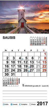 """2017 metų kalendorius su magnetu ir priklijuota detale """"Švyturys"""""""