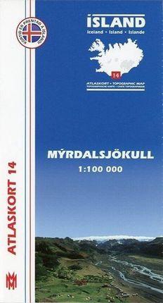 Island Atlaskort 14 Myrdalsjökull 1:100.000