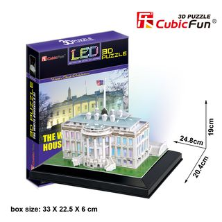 3D dėlionė: Baltieji rūmai (su LED apšvietimu)