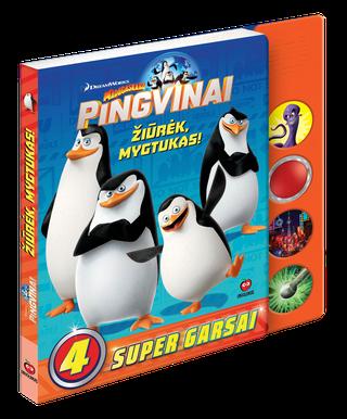 MADAGASKARO PINGVINAI. Žiūrėk, mygtukas! Spalvinga knygelė (kietais puslapiais!) su linksmais pašėlusių pingvinų nuotykiais + 4 supergarsai