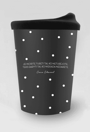 """Retro porcelianinis kelioninis puodelis su COCO CHANEL citata: """"Jei norite turėti tai, ko neturėjote, teks daryti tai, ko niekada nedarėte"""""""